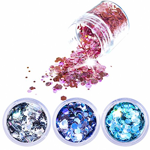 Chunky Hexagon Glitter 4 Pack