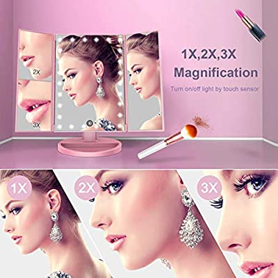 BESTOPE Makeup Vanity Mirror with Lights, 2X/3X Magnification, 21 Led Lighted Mirror with Touch Screen,180° Adjustable Rotation,Dual Power Supply,Portable Trifold Mirror