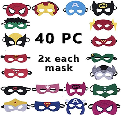 Child Superhero Mask Set for Kids Party Supplies Birthday Party DIY Children (40 Masks Set)
