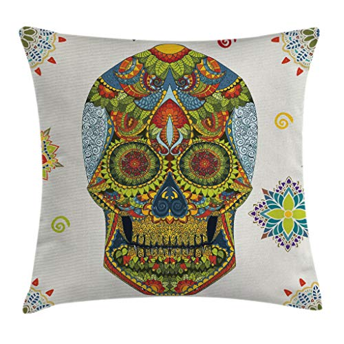 """Ambesonne Day of The Dead Throw Pillow Cushion Cover, Dia de Los Muertos Celebration Skull with Style Paisley Details, Decorative Square Accent Pillow Case, 20"""" X 20"""", Blue Green"""