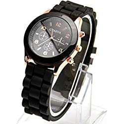 Gold Trim Quartz Rubber Silicone Wrist Watch For Unisex Men Womens Black Christmas Xmas Birthday Present Gift (Black)