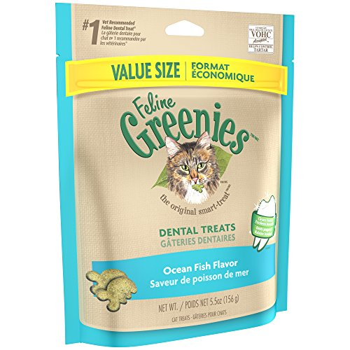 FELINE GREENIES Dental Natural Treats for Cats Ocean Fish Flavor 5.5 oz.