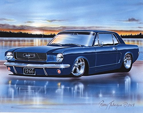 1966 Ford Mustang Coupe Classic Car Art Print Blue 11x14 Poster ()