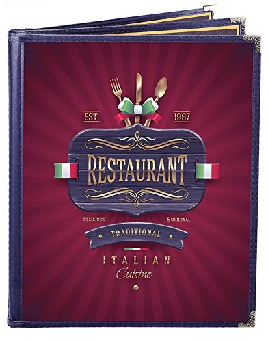 25 BETTER QUALITY Menu Covers #3151 BLUE TRIPLE PANEL BOOKLET - 6-VIEW - 8.5'' WIDE x 11'' TALL - DOUBLE-STITCHED Leatherette Sewn Edge. Gold metal corners. SEE MORE: Type MenuCoverMan in Amazon search. by MenuCoverMan