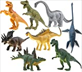 OMGOD 8 pcs Dinosaur Set, Dinosaur Toys Velociraptor Tyrannosaurus Velociraptor/Fast Robber Saichania Stegosaurus Triceratops Branchiosaurus, Kids Toy Realistic Jurassic Action for Boy