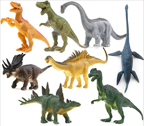Stegosaurus Dinosaur Miniature - 8 pcs Dinosaur Set, OMGOD Dinosaur Toys Velociraptor Tyrannosaurus Velociraptor/Fast robber Saichania Stegosaurus Triceratops Branchiosaurus, Kids Toy Realistic Jurassic Action Perfect Gift For Boy