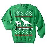 T-Rex Attacking Moose Christmas Ugly Sweater Unisex Crew Neck Sweatshirt (Green) - 3XL