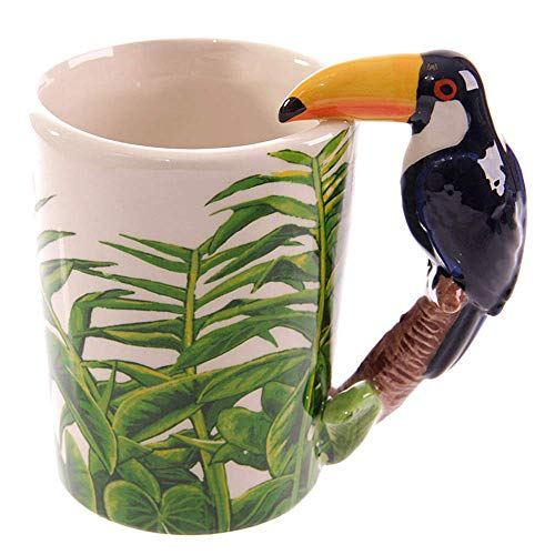 YOUDirect 3D Coffee Mug Wildlife Series Gift Cup Ceramic Hand painted Animal Mugs for Home and Office Use (Woodpecher)