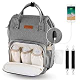 YISSVIC Diaper Bag BackPack Nappy Bag Travel Waterproof with Phone Charger Multi-Function Large Capacity for Baby Care
