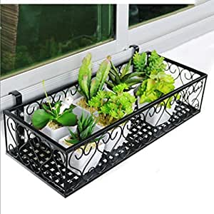 Edge to Flower racks Balcony Flower Rack Windowsill Suspension Flower Pot Rack Iron-art Balcony Railings Flower Rack Wall Hanging European Flower Rack ( Color : 802512cm )