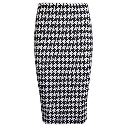 Skirt Plus Printed Stretchy Women midi Dent Janisramone Chien Bodycon Pencil Wiggle Bn47q08x