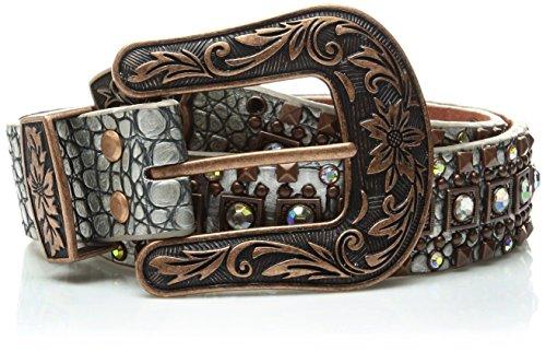 - Nocona Belt Co. Women's Silver Croc Copper Square Stud Belt, Medium