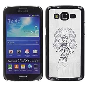 FlareStar Colour Printing Wings Angel Man Sketch Grey Painting cáscara Funda Case Caso de plástico para Samsung Galaxy Grand 2 II / SM-G7102 / SM-G7105