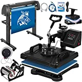 Mophorn Heat Press Machine 12x15 inch 5in1 T-Shirt Heat Press and Vinyl Cutter 34 inch Plotter Machine 870mm Paper Feed Vinyl Cutter Plotter