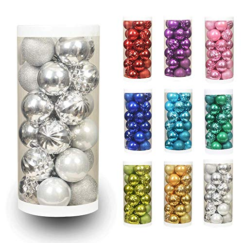 """(ChristmasExp 24ct 60mm/2.36"""" Christmas Ball Shatterproof Christmas Tree Balls Ornament Set Decorations Holiday Xmas Party Decoration Tree Ornaments(2.36'', Silver))"""