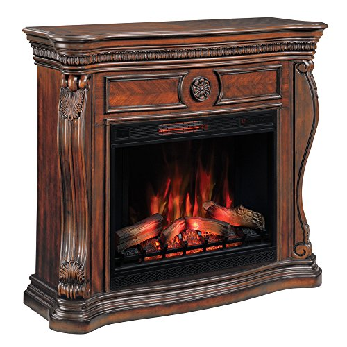 ClassicFlame 33WM881-C232 Lexington Wall Fireplace Mantel, Empire Cherry (Electric Fireplace sold separately) Capital Fluted Pilasters