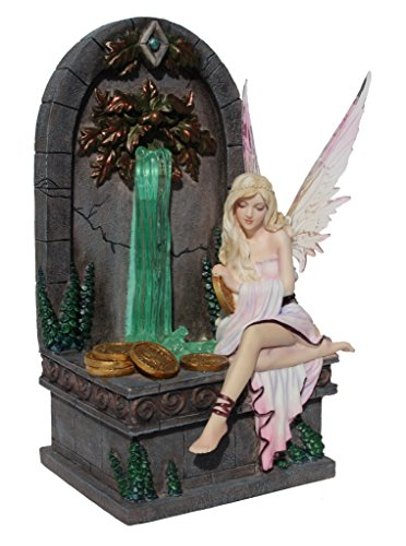 Fairy Wishing Well Fantasy Art Statue Figurine by Selina Fenech, LED Fountain, Polystone