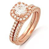 BSD Treasure 18K Rose Gold Plated 2-Piece Halo Cubic Zirconia Engagement Ring (6)
