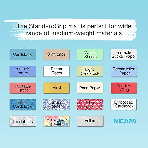 Nicapa StandardGrip Cutting Mat for Silhouette Portrait(8x12 inch 3 Mats) Standard Adhesive Sticky Quilting Cricket Cut Mats Replacement Accessories for Silhouette Portrait