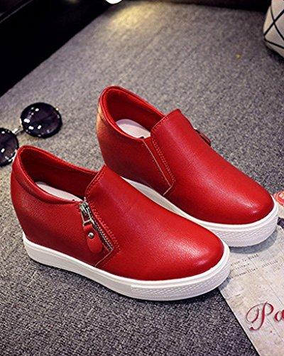 Minetom Damen Reißverschluss Pu Leder Rund Zehe Höhe Zunehmende Plattform Schuhe Pumps Stiefeletten Sneaker Rot