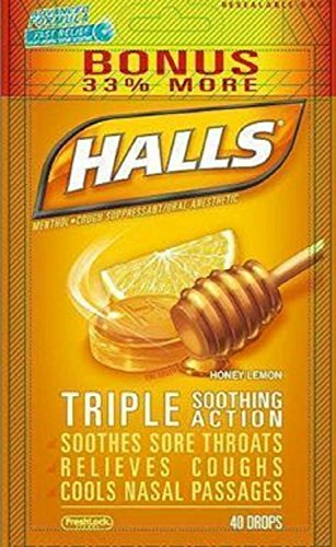 Halls Menthol - Cough Suppressant/Oral Anesthetic, Honey-Lemon, Drops, 40 ct. Pack of 2