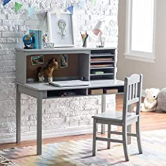 Beautifully crafted from wood and finished in soft gray, the Guidecraft Children's Media Desk & Chair Set is a gorgeous and versatile addition to any child's bedroom. Designed for children ages five to twelve, this desk provides plenty of...