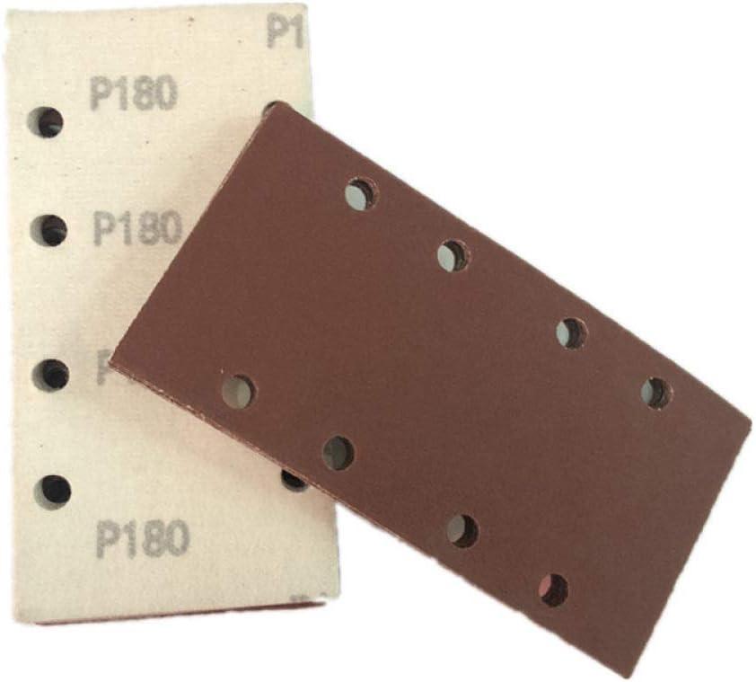 50pcs 190 * 93mm Square Sandpaper 1/3 Sheet Sanding Sander Sandpaper Pads Mixed Grit 40/60/80/100/120 8-Hole Square Sandpaper,As Shows As Shows