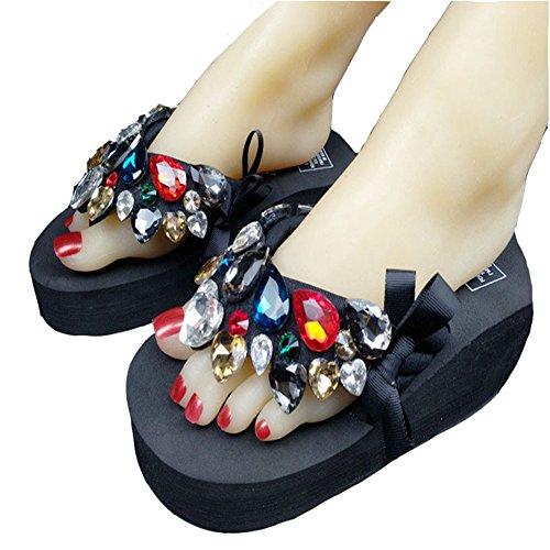 Ladies Platform Flip Flops Wedge Sandals with Crystal Butterfly Gems Slippers Black ()