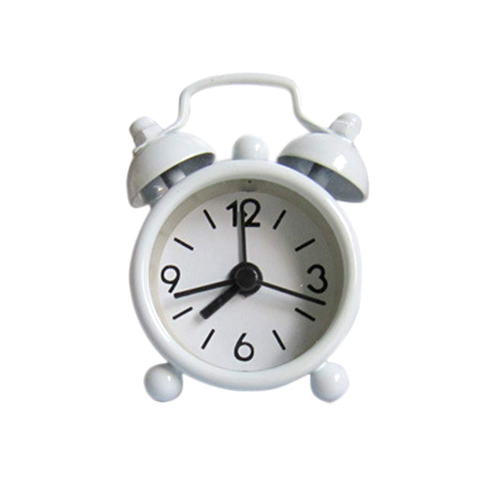 FIN86 Round Cute Mini Metal Small Alarm Clock Simple Cute Travel Portable Button Electronics Operated Snooze Functions Clock, Easy Set (White)