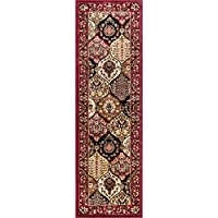 Dynasty Panel Red Multi Oriental Floral Geometric Modern Rug 3x10 ( 27 x 96 Runner ) Easy to Clean Stain Fade Resistant Shed Free Contemporary Formal Lattice Trellis Soft Living Dining Room Rug