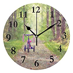 NMCEO Wall Clock Mood Bike Children's Pink Tree Round Hanging Clock Acrylic Battery Operated Wall Clocks for Home Decor Creative