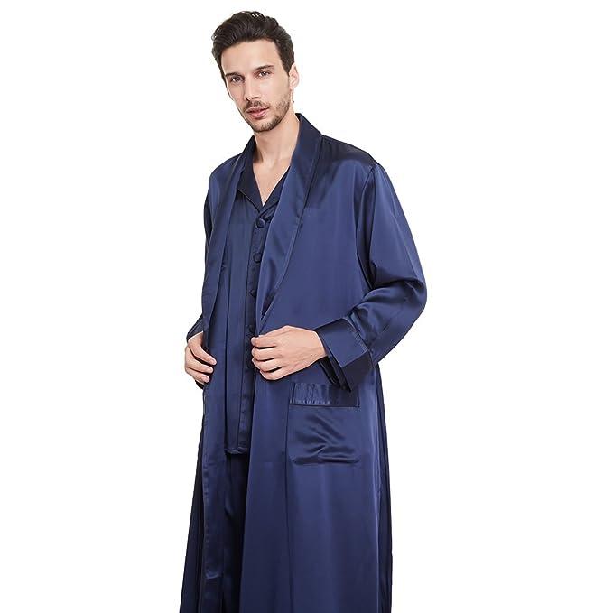 LILYSILK Conjunto de Pijamas y Batas para Hombre Estilo de Negociación 100% Seda de Mora