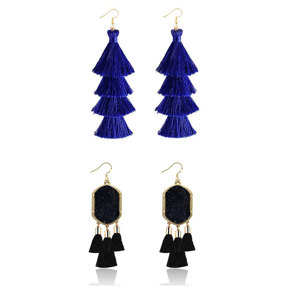 Black Long Fringe Tassel Drop Dangle Earrings Simulated Crystal Stone Druzy Acrylic Bohemian Statement Earings with Gold Hook