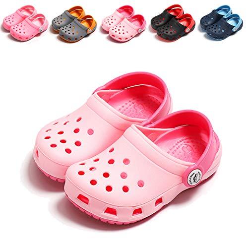 (ENERCAKE Toddler Kids' Garden Clogs Boys Girls Classic Slip On Summer Sandals Lightweight Water Shoes Beach Slipper(11 Toddler,A-Light Pink))