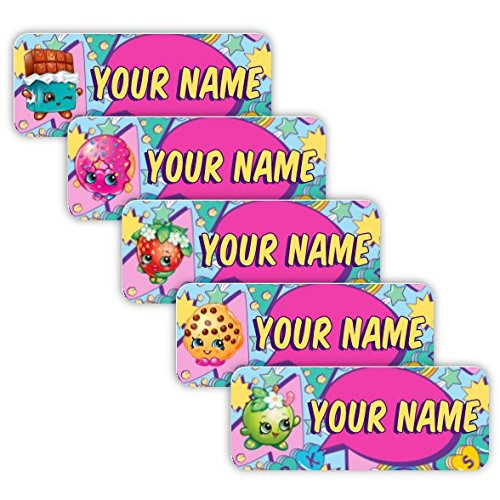 Shopkins Theme Original Personalized Peel and Stick Waterproof Custom Name Tag Labels for Adults, Kids, Toddlers, and Babies – Use for Office, School, or Daycare by Oliver's Labels