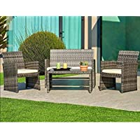SUNCROWN Outdoor Conversation Set 4-Piece Grey Wicker...