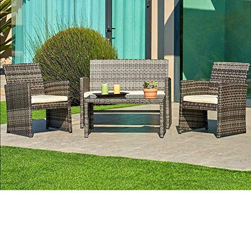 SUNCROWN Outdoor Conversation Set 4-Piece Grey Wicker Sectional Patio Furniture with Glass Top Table All-Weather Sofa | Thick, Durable Cushions with Washable Covers | Porch, Backyard, Pool or Garden