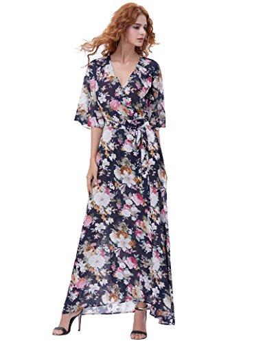 Kate Kasin Vintage Floral Beach Dress Long Maxi Dress (Blue and White Flower ()