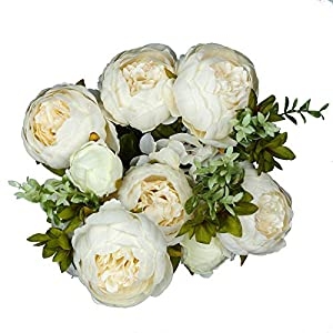 Vlovelife Ivory Artificial Peony Flower with 13 Stems 20'' Long Fake Plastic Flowers Silk Rose Flower Home Garden Party Wedding Bouquet Centerpiece Decoration DIY Wreath Vase 44