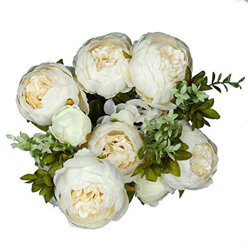 (Vlovelife Ivory Artificial Peony Flower with 13 Stems 20'' Long Fake Plastic Flowers Silk Rose Flower Home Garden Party Wedding Bouquet Centerpiece Decoration DIY Wreath Vase)