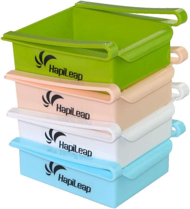 para cocina HapiLeap ahorro de espacio 4pack Estante de almacenamiento de pl/ástico para frigor/ífico o congelador