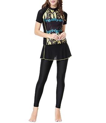ee9344a1597 zhbotaolang Womens Full Body Swimsuit Islamic Swimsuit Surfing Suit Short  Sleeve UPF 50+ Muslim Beachwear(2-Pieces)  Amazon.co.uk  Clothing