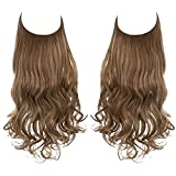 SARLA Adjustable Headband Halo Hair Extension Medium Brown With Ash Blonde Highlight Short Wavy Curly Synthetic Hairpiece Invisible Wire 12 Inch for Women Heat Resistant Fiber No Clip (M05&10H24B)