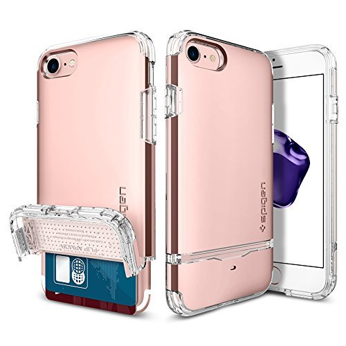 Spigen Flip Armor iPhone 7 Case/iPhone 8 Case with Durable Protection and Hidden Card Storage for Apple iPhone 7 (2016) / iPhone 8 (2017) - Rose Gold