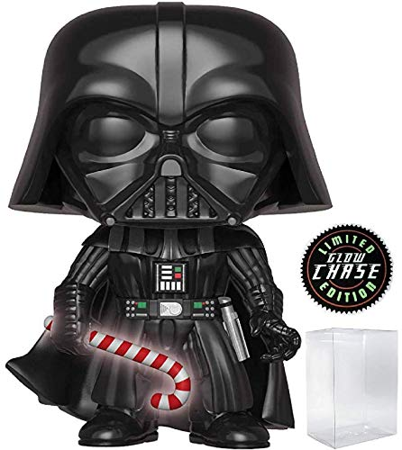 Funko Pop! Star Wars: Holiday - Darth Vader with Glow in The Dark Candy Cane (Limited Edition Chase) Vinyl Figure (Includes Pop Box Protector Case)