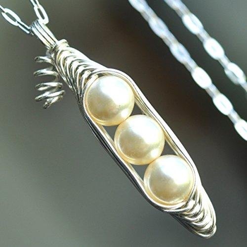 Three  Peas in a pod necklace - cream peapod pendant - off w