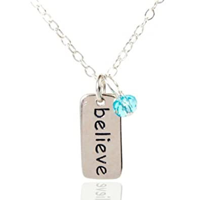amazon com efytal sterling silver believe tag necklace with blue