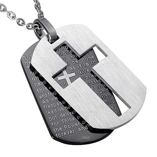 - CF Mens 316L Stainless Steel Cross Bible Verse Lords Prayer Necklace 2 Tone Double Dog Tags Pendant Christian Jewelry for Dad Boyfriend for Engagement Baptism Fathers Day Birthday Gift Black