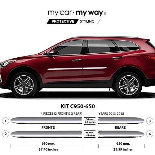 MY CAR MY WAY (Fits) Hyundai Santa Fe XL 2013-2018 Chrome Body Side Molding Cover Trim Door Protector