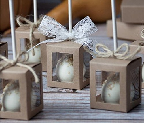 """Pack of 25 1.75x1.75x2"""" inch Cake Pop Windowed Bakery Boxes - Natural Brown -"""
